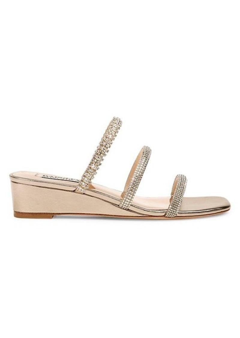 Badgley Mischka Zofia Leather Wedge Sandals