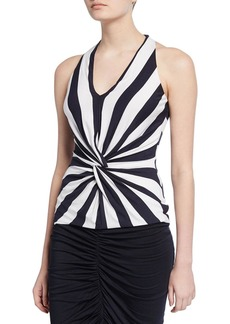 Bailey 44 Artemis Striped Twist-Front Sleeveless Top