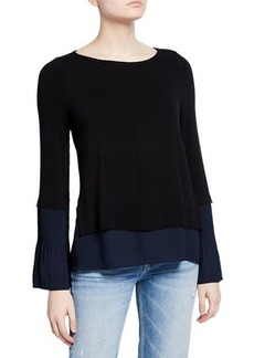 Bailey 44 Ashley Woven-Trim Knit Top