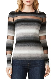 Bailey 44 Death Cookie Sheer-Inset Striped Top