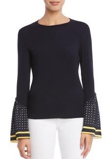 Bailey 44 Dot-Cuff Bell-Sleeve Sweater