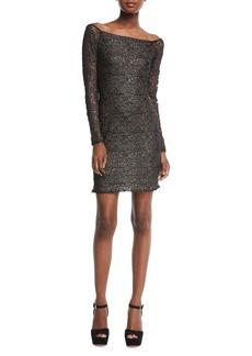 Bailey 44 Double-Exposure Off-the-Shoulder Jacquard Lace Cocktail Dress