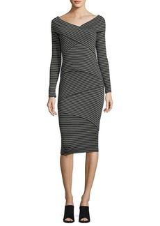 Bailey 44 Edamame V-Neck Striped Body-con Midi Dress