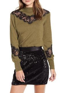 Bailey 44 Flora Lace Inset Merino Wool & Cotton Sweater