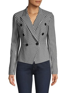 Bailey 44 Gelato Stripe Double-Breasted Peplum Jacket