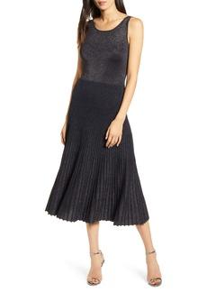 Bailey 44 Lydia Pleated Metallic Midi Sweater Dress