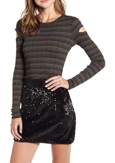Bailey 44 Metallic Stripe Cutout Rib Top
