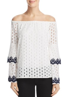Bailey 44 Phlox Eyelet Off-the-Shoulder Top