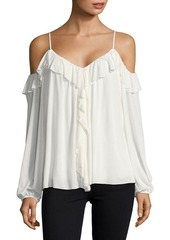 Bailey 44 Ruffled Cold-Shoulder Sweetheart Top