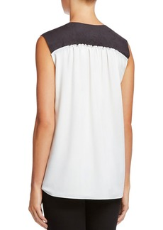 Bailey 44 Sleeveless Faux-Leather Trim Top