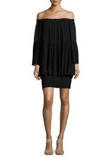 Bailey 44 Waterfall Off-the-Shoulder Long Sleeve Dress