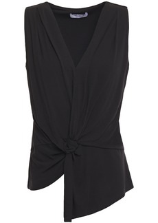 Bailey 44 Woman Amber Asymmetric Twist-front Pleated Jersey Blouse Black