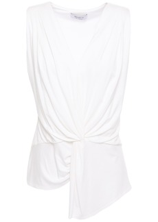 Bailey 44 Woman Amber Asymmetric Twist-front Pleated Jersey Top White
