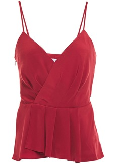 Bailey 44 Woman Annabelle Wrap-effect Pleated Satin Camisole Claret