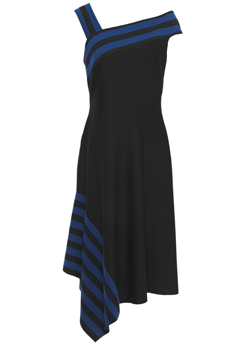 Bailey 44 Woman Asymmetric Draped Striped Jersey Dress Black
