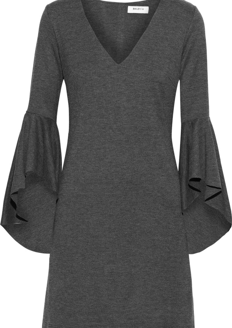 Bailey 44 Woman Avalanche Ruffled Mélange Stretch-jersey Mini Dress Anthracite