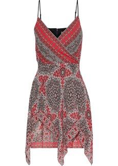 Bailey 44 Woman Bandana Wrap-effect Layered Printed Georgette Mini Dress Tomato Red