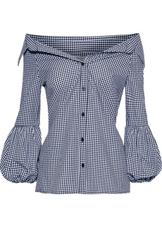 Bailey 44 Woman Bleeding Heart Off-the-shoulder Gingham Cotton-poplin Shirt Navy
