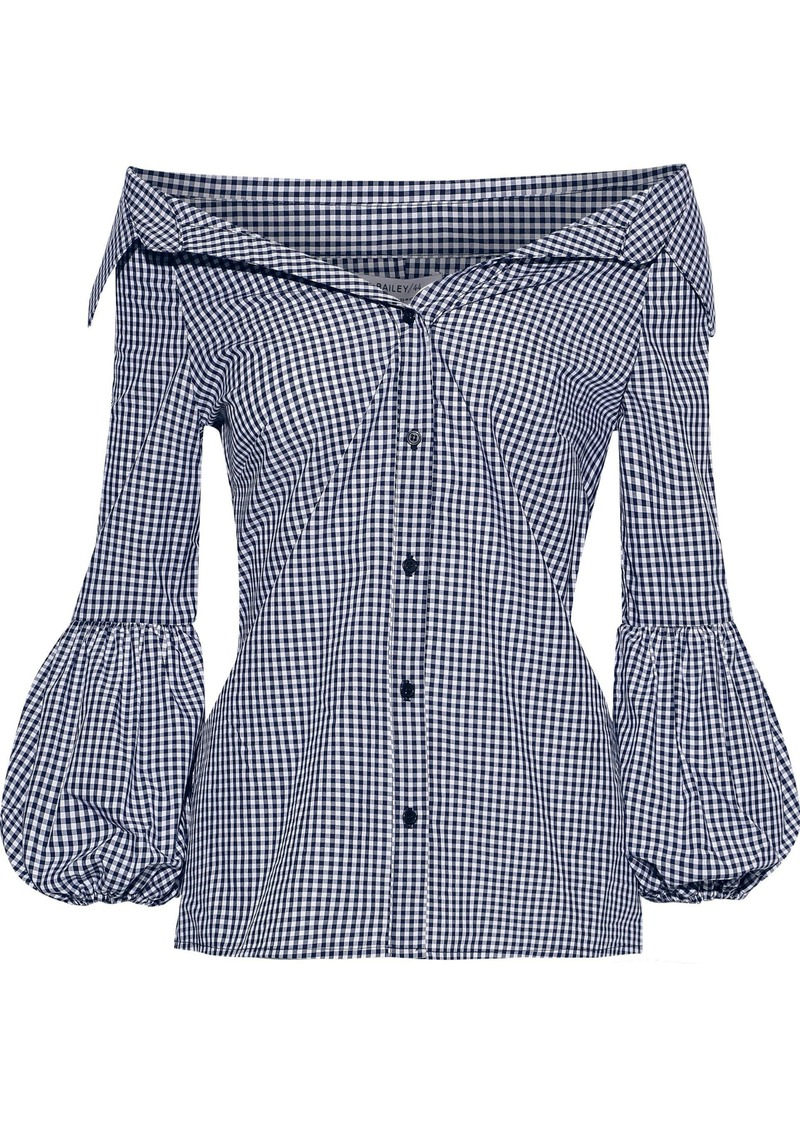 Bailey 44 Woman Bleeding Heart Off-the-shoulder Gingham Cotton-poplin Shirt Navy