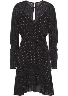 Bailey 44 Woman Candace Asymmetric Polka-dot Chiffon Mini Dress Black
