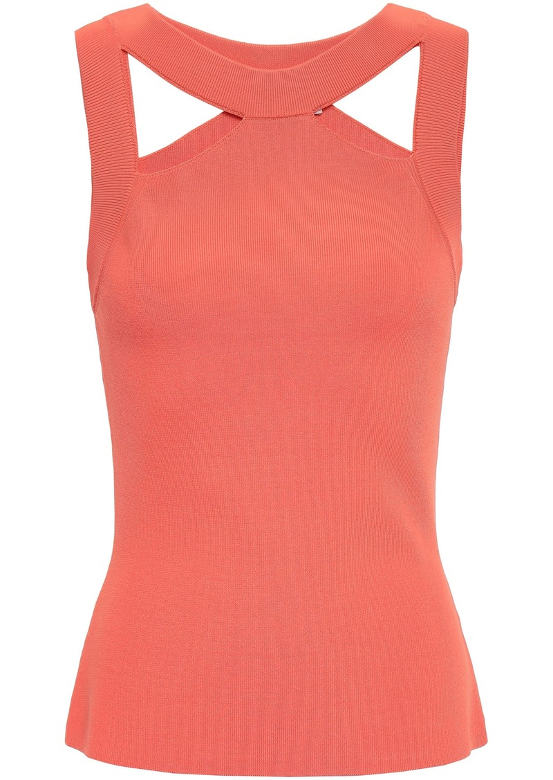 Bailey 44 Woman Cerebral Cutout Stretch-ponte Top Peach