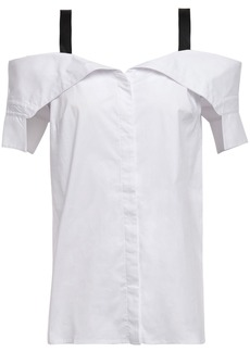 Bailey 44 Woman Cold-shoulder Cotton-blend Poplin Shirt White
