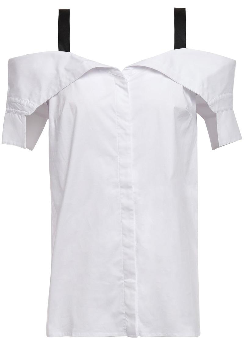 Bailey 44 Woman Cold-shoulder Cotton-blend Poplin Shirt White