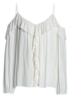 Bailey 44 Woman Cold-shoulder Draped Stretch-modal Jersey Top Ivory