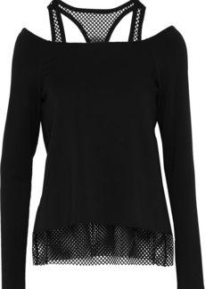 Bailey 44 Woman Cold-shoulder Mesh-trimmed Stretch-modal Fleece Top Black