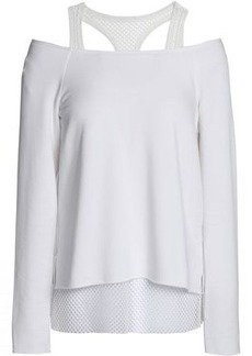 Bailey 44 Woman Cold-shoulder Mesh-trimmed Stretch-modal Fleece Top White