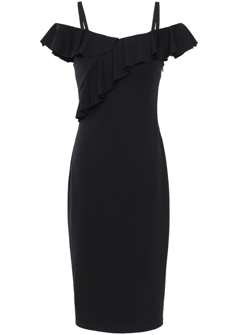 Bailey 44 Woman Cold-shoulder Ponte Dress Black