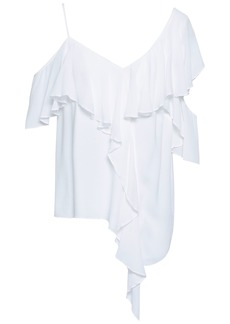 Bailey 44 Woman Cold-shoulder Ruffled Crepe Top White