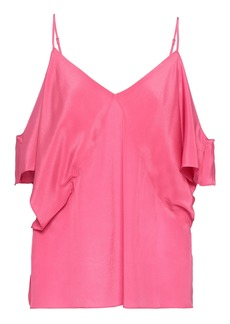 Bailey 44 Woman Cold-shoulder Silk Crepe De Chine Top Pink