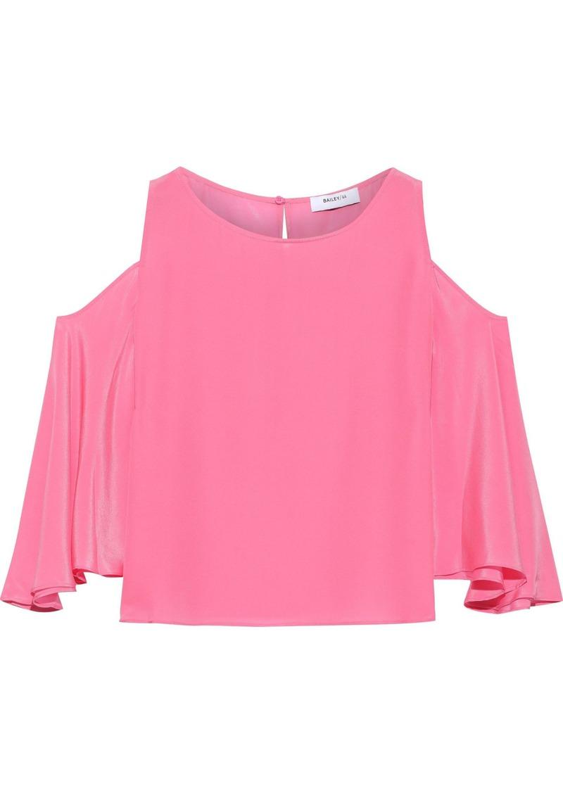 Bailey 44 Woman Cold-shoulder Silk Top Pink