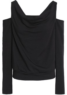 Bailey 44 Woman Cold-shoulder Stretch-modal Fleece Top Charcoal