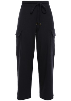 Bailey 44 Woman Cropped Stretch-modal Jersey Wide-leg Pants Midnight Blue