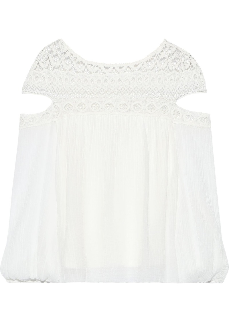 Bailey 44 Woman Cutout Crochet-paneled Crinkled Cotton-gauze Blouse White