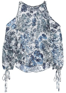 Bailey 44 Woman Cutout Floral-print Crinkled-georgette Blouse Light Blue