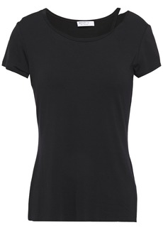 Bailey 44 Woman Cutout Mélange Jersey T-shirt Black