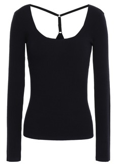 Bailey 44 Woman Cutout Ribbed-knit Top Midnight Blue