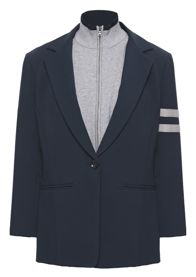 Bailey 44 Woman Emerson Convertible Stretch-knit And Cady Blazer Navy