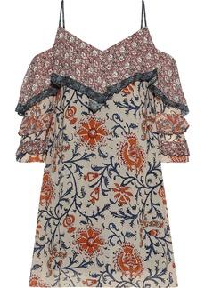 Bailey 44 Woman Endonesia Cold-shoulder Floral-print Georgette Mini Dress Sand