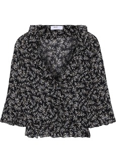 Bailey 44 Woman Extracurricular Ruffle-trimmed Floral-print Georgette Blouse Midnight Blue
