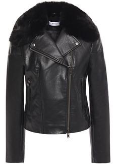 Bailey 44 Woman Faux Fur-trimmed Faux Leather Biker Jacket Black