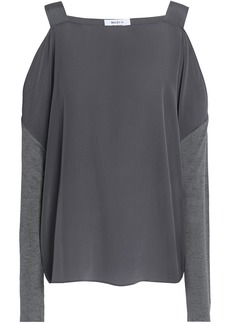 Bailey 44 Woman Fencing Cold-shoulder Jersey-paneled Silk Crepe De Chine Top Anthracite