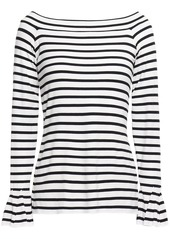 Bailey 44 Woman Fluted Striped Stretch-jersey Top Midnight Blue