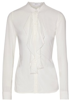 Bailey 44 Woman Frayed Ruffled Voile Blouse White