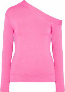 Bailey 44 Woman Gabby One-shoulder Stretch-modal Fleece Top Bright Pink