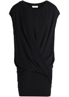 Bailey 44 Woman Gathered Stretch-modal Fleece Mini Dress Black