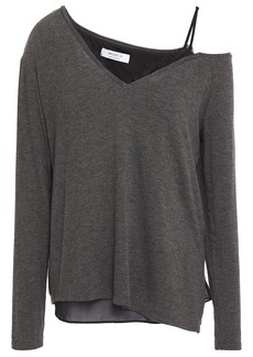 Bailey 44 Woman Hannah Cold-shoulder Layered Chiffon And Mélange Knitted Top Dark Gray